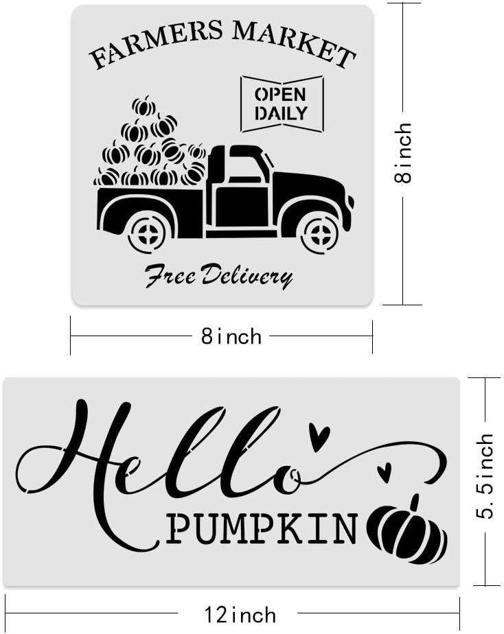 Size 8Pcs Reusable Fall Painting Stencil,Farmhouse Autumn Pumpkin Truck//Sunflower//Maple Leaf//Harvest Blessings Stencil DIY Your Own Farmhouse Wood Signs 8x8 inch/&12x5.5 inch