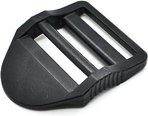 12pcs Plastic Ladder Lock Slider Buckle for Backpack Straps Black (Webbing Size 31mm)