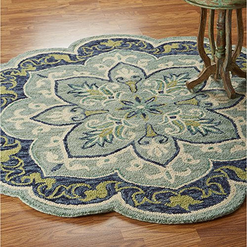 LR Home DAZZL54077TEA60RD Dazzle Area Rug, 6' Round, Teal (Green Wool Rugs)