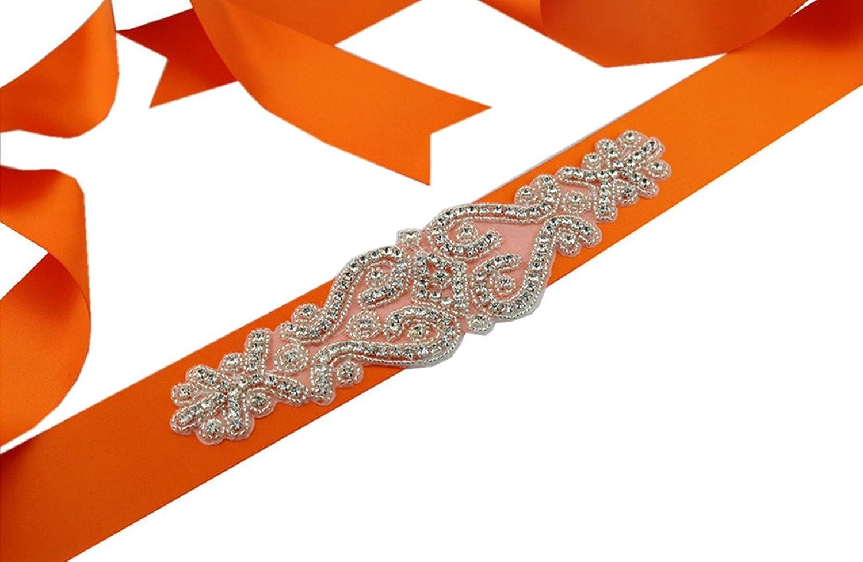 SoarDream Rhinestone Sash Belt, Bridal Dress Belt, Orange, Size:9.2x2.2inches.