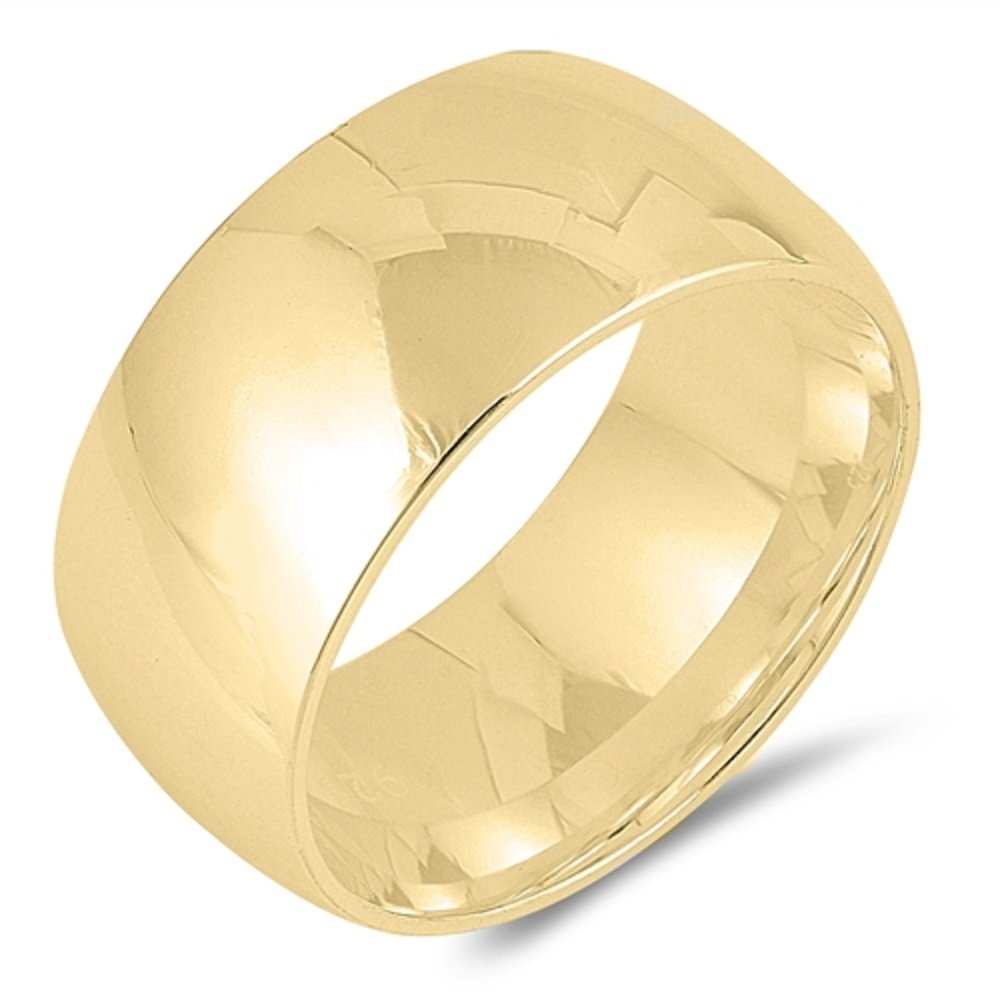 Yellow Gold-Tone Plated 925 Sterling Silver 10MM Plain Eternity Wedding Ring Size 10