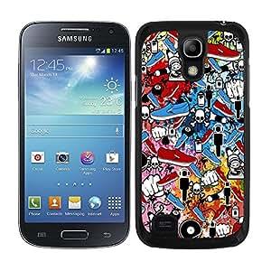 Funda carcasa para Samsung Galaxy S4 Mini diseño sticker bomb, bomba de pegatinas modelo 1 borde negro