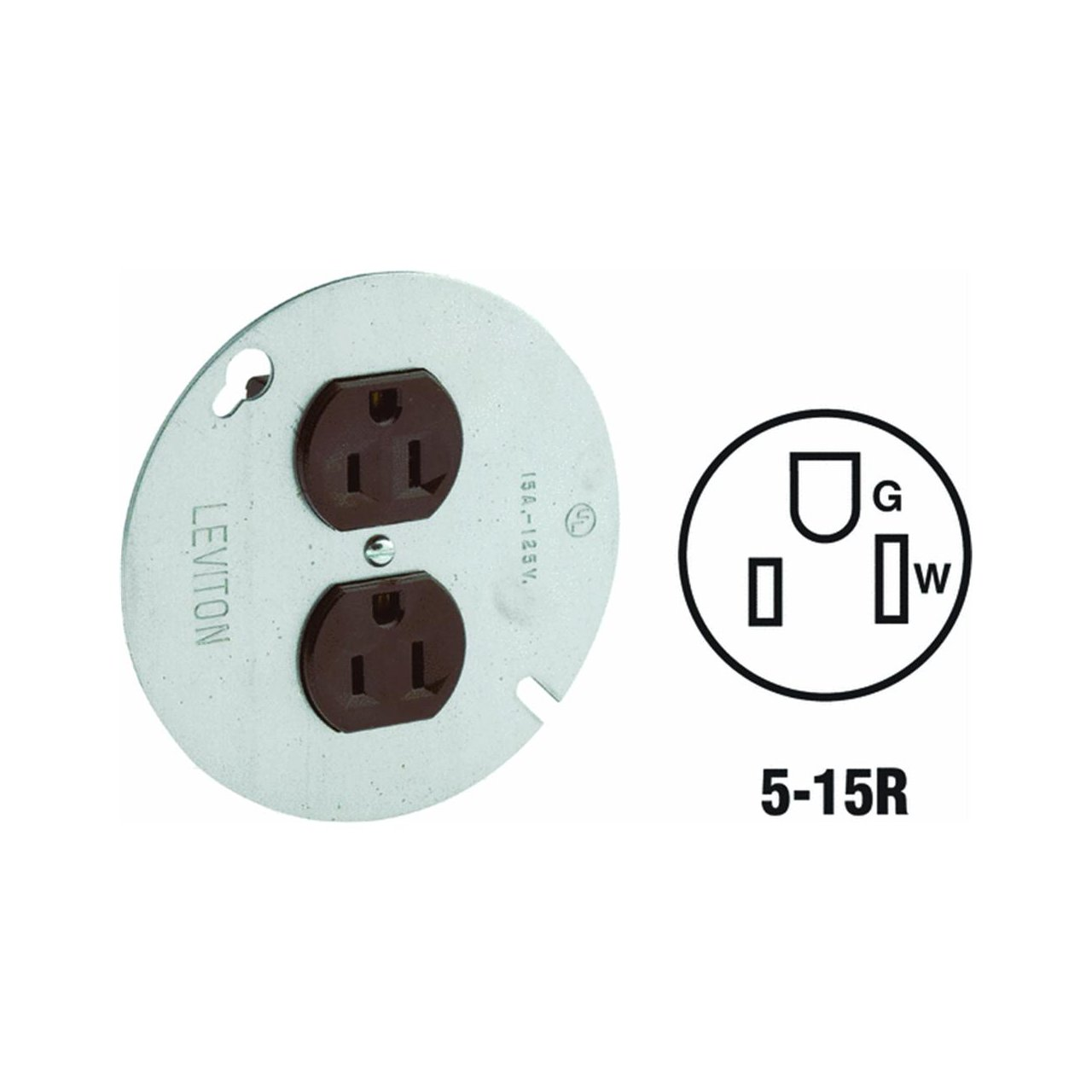 Leviton 5042 15 Amp, 125 Volt, Duplex Receptacle On 4-Inch Cover, Zinc Plated Steel