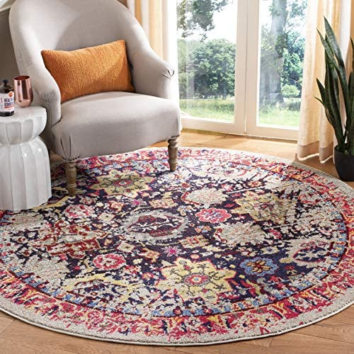 Safavieh Monaco Collection MNC206G Modern Abstract Oriental Grey and Multi Distressed Round Area Rug 6'7″ Diameter