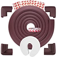TONY STARK Baby Kids Safety Corner Protector Collision for Sharp Edges of Tables, Beds and Home Furniture- Brown (2M Tape and 4 Piece Corner Guard) with Finger Protector for Doors