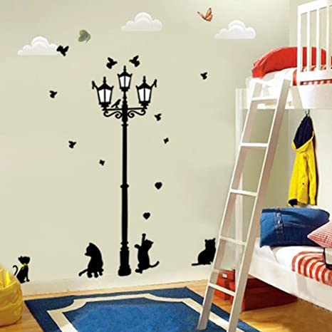 Miryo-Pegatinas Adhesivos vinilos decorativos pared Luces de calle Streetlights Gatos Removible para sala de
