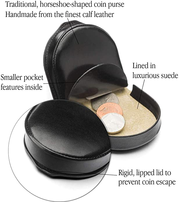 Black Mens Leather Horseshoe Shaped Zip Coin Pouch