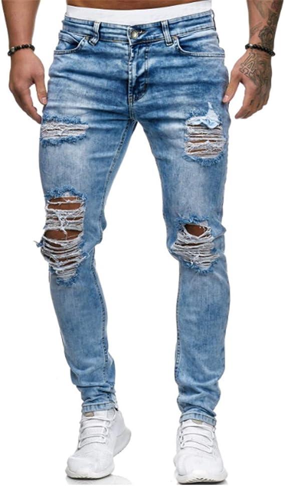 メンズジーンズ、壊れた穴鉛筆パンツ小足パンツとリッピングスリムフィットストレートデニム,ブルー,S