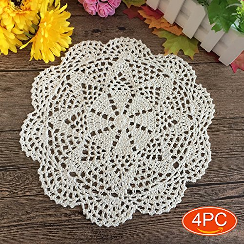 Elesa Miracle 10 Inch 4pc Handmade Round Crochet Cotton Lace Table Placemats Doilies Value Pack, Octagon, Beige / White (4pc- 10 Octagon Beige)