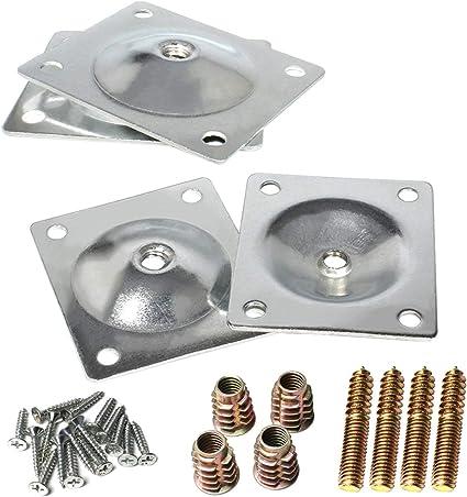 Furniture Square Leg Mounting Iron Plates Metric M8 0 Degree Pack of 4