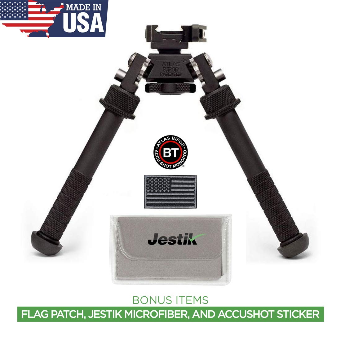 Accu-Shot Atlas Bipod BT10-LW17 with ADM 170-S Lever Plus USA Flag Patch and Jestik Microfiber Cleaning Cloth by Accu-Shot