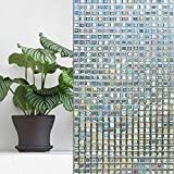 Dds5391 Anti-Peeping Mosaic Glass Film,Static Cling Mosaic Colorful Square Stained Glass Window Door Glass Film Decor