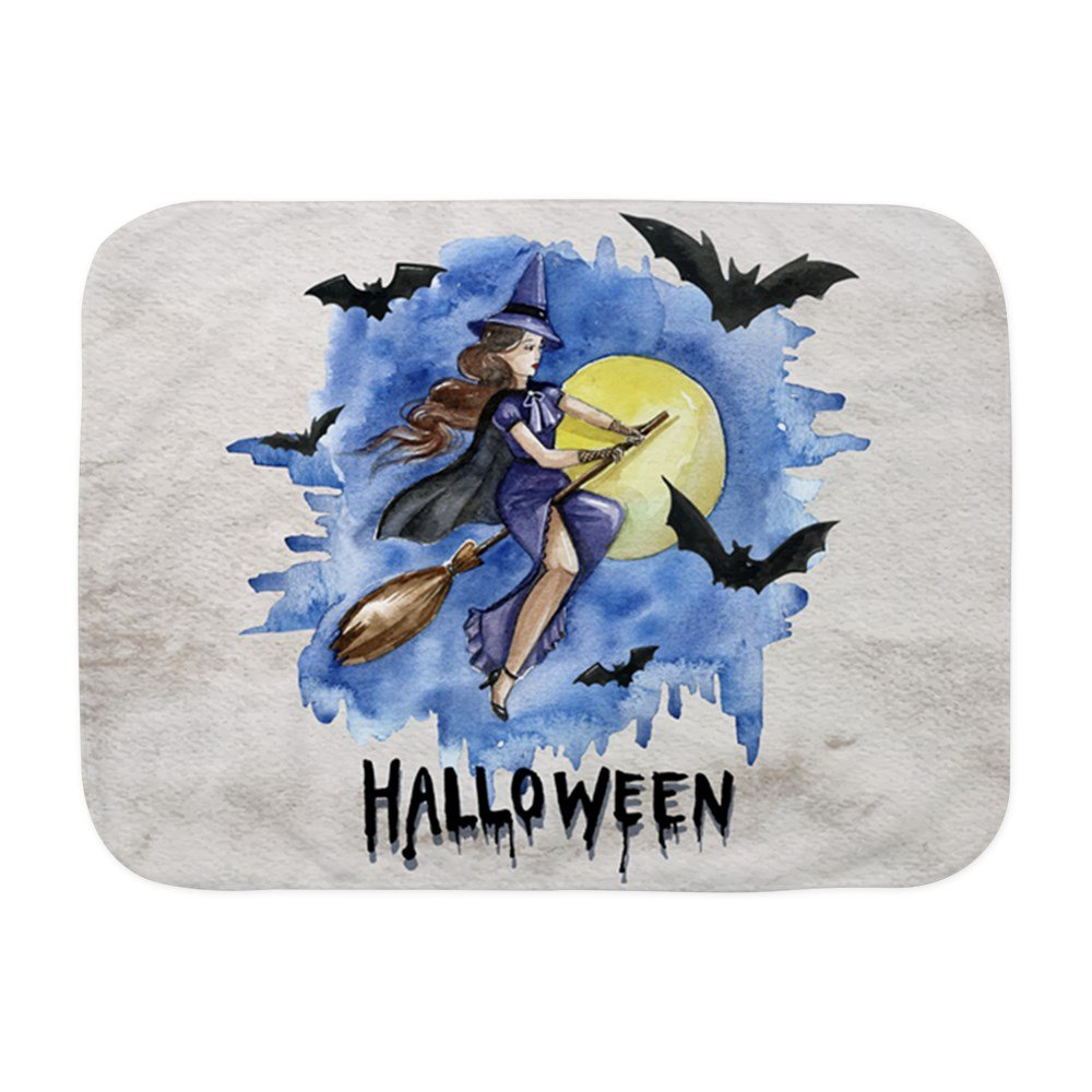 Royal Lion Baby Blanket White Halloween Witch Riding Broom Bats