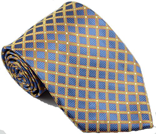 EXT Collectino 100% Silk Necktie, New Classic Checks Blue Gold Tie JACQUARD WOVEN Men's Suits Ties by EXT Collectino