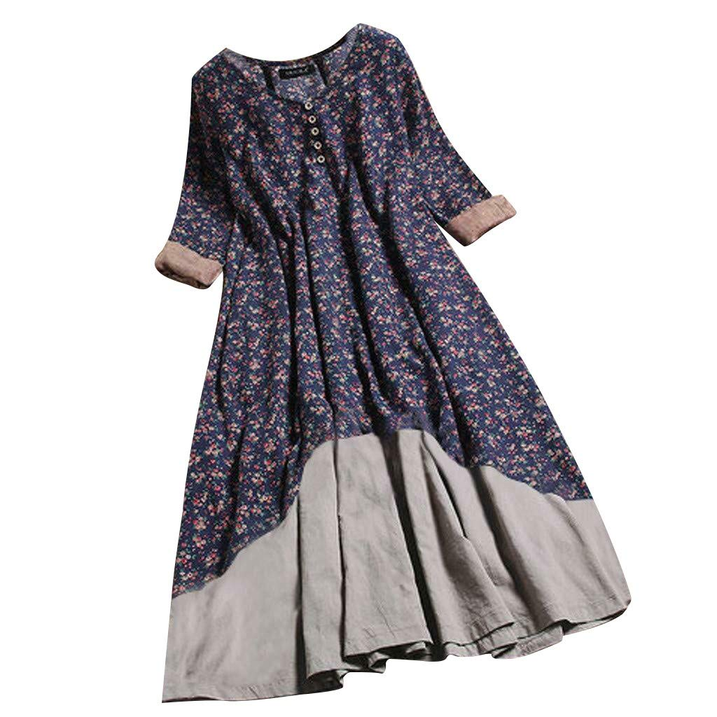 Yellsong Dress,Women's Comfy Floral Printed O-Ncek Casual Layered Long Sleeve Button Vintage Long Dress