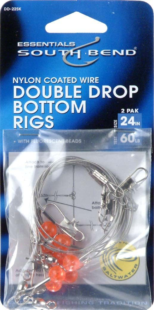 Hurricane 24-Inch Double Drop Bottom Nylon Coated Wire Rig (2-Pack), 60-Pound