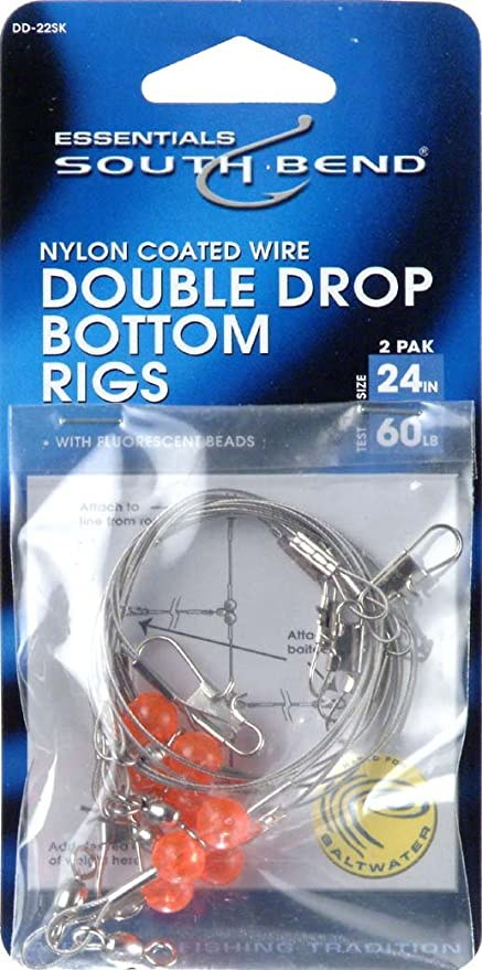 """Made In USA Wire Fishing Leaders 18"""" Double Drop 90 Lbs Test 3 Piece Pack"""