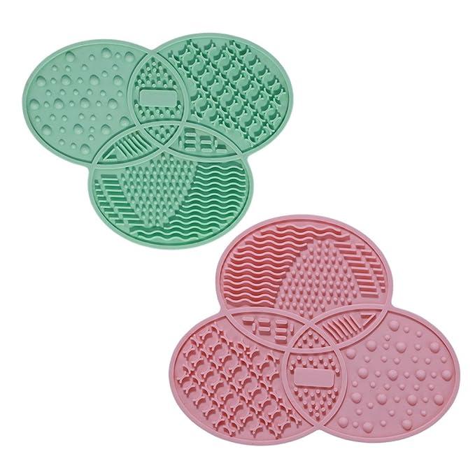 1 opinioni per Tappetini in gomma di silicone per la pulizia di pennelli da trucco, 2pezzi,