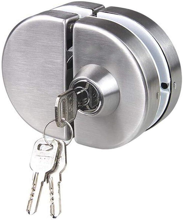 NUZAMAS Cerradura de puerta de vidrio doble Acero inoxidable 304, cerrojos de puerta abiertos sin marco de ambos lados para vidrio de 10-12 mm de espesor, hardware de oficina en casa