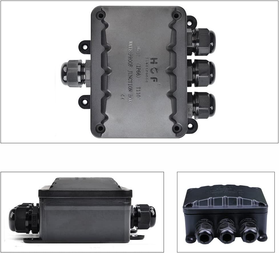 black larger 4-way connection socket Earth cable Terminal box Cable sleeve M16 Cable gland ? 5mm-10mm K-Bright External cable connector water-proof IP66 Junction box
