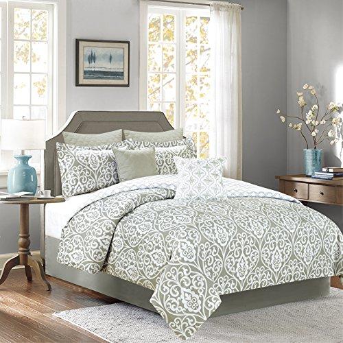 Sweet Sage (Sweet Home Collection 5 Piece Down Alternative Decorative Fashion Comforter Set,Gray/Sage,King)