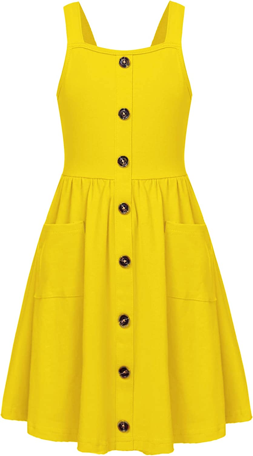 Arshiner Girl's Summer Sundress Spaghetti Strap Button Down Midi Dress with Pockets: Clothing