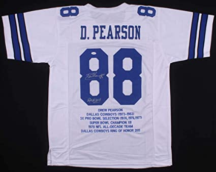 Nice Drew Pearson #88 Signed Dallas Cowboys Career Highlight Stat Jersey  free shipping