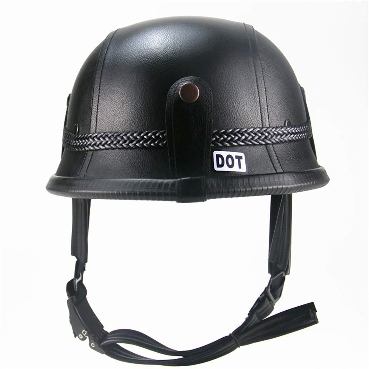 Unbekannt GRL Motorradhelme German Style Leder Motorradhelm Half Open Face mit Brille und Gesichtsmasken Schwarz Retro Vintage Army-Style