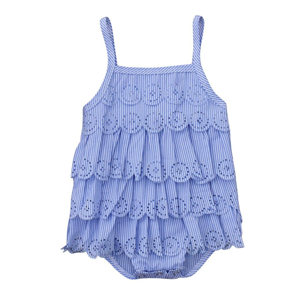 Winsummer Infant Baby Girl Summer Romper Swimsuit Clothes Sleeveless Vest Ruffle Lace Hollow Bodysuit Dress 24M