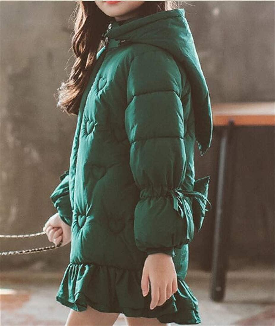 Hajotrawa Girl Winter Padded Hooded Puffer Bowknot Thick Parka Jacket Coat