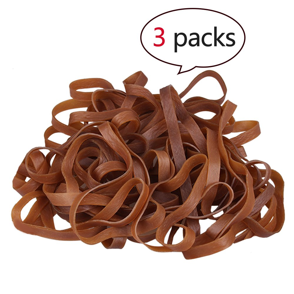 Big Rubber Bands Size:7.9 x 0.4In,1/4 lb per Pack, Natural, for School, Home Or Office [3 Packs]