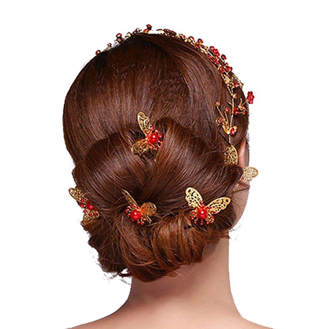 Bodhi2000 6 Pcs U-shape Butterfly Hair Pins Wedding Bridal Faux Pearl Hair Clips - Silver