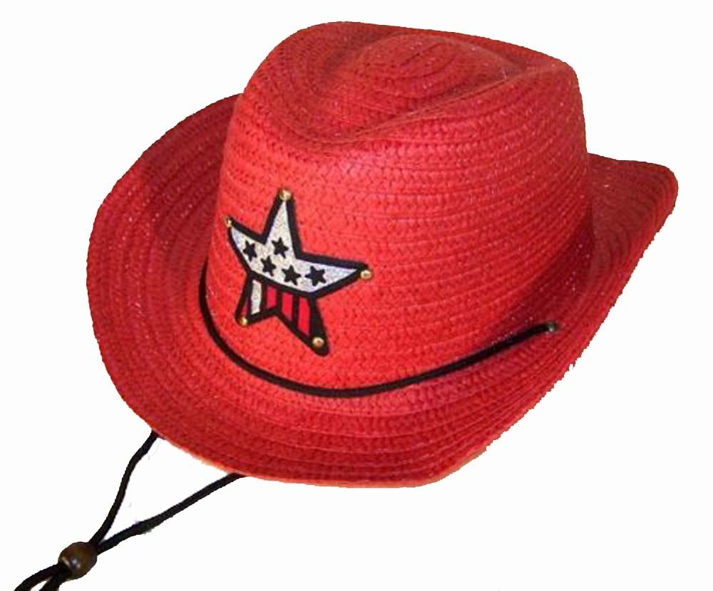 12 Bulk Lot Assorted Colors Kids Straw Western Cowboy / Cowgirl Hat with Americian Flag Star Emblem Patch -Childrens Size by Novelties company (Image #6)