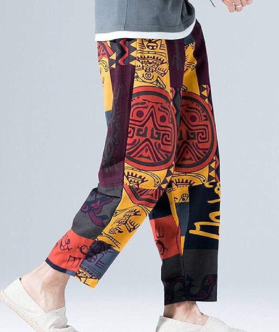 CRYYU Men Print Big /& Tall Baggy Linen Loose Casual Harem Pants