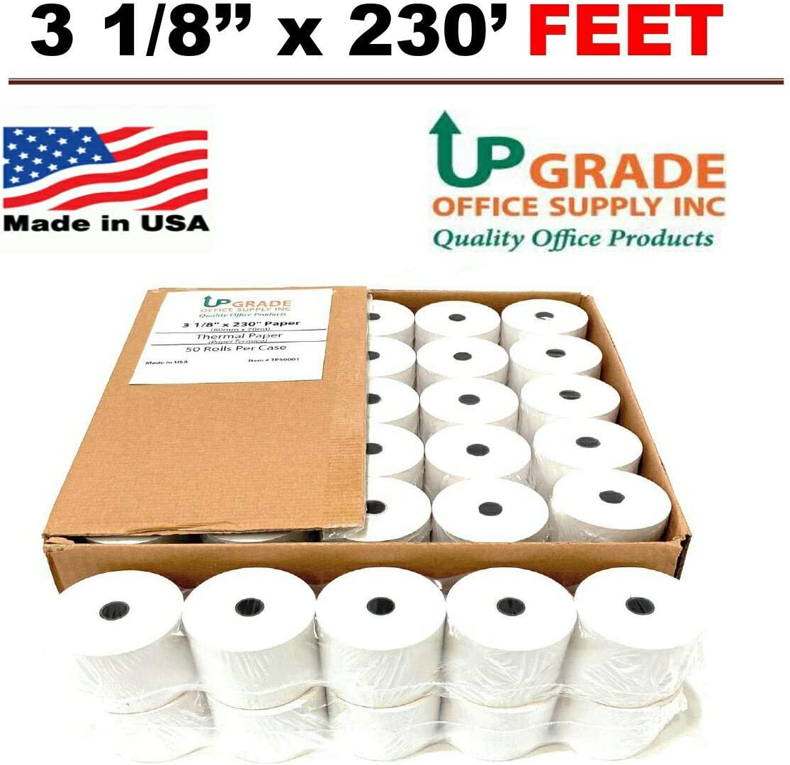 """Thermal Cash Register POS Paper Rolls 3 1/8"""" x 230' MADE IN USA. 3 1/8 x230 (80mm x 70m) for credit printers available in multi Packaging (10 ROLLS))"""