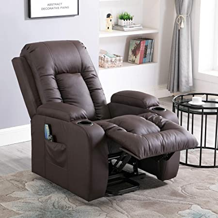 4HOMART Motor Riser Recliner Chair, Electric Power Lift Chair with Massage, Heat and Vibration 160 Degree Recline PU Leather 8 Point Massage Sofa