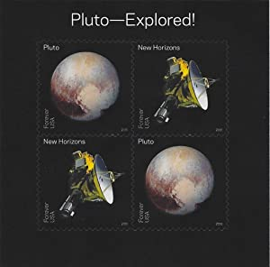 Pluto-Explored! Souvenir Sheet of 4 Self-Adhesive Stamps Scott 5078
