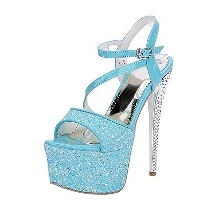 Agodor Damen Extreme Stiletto High Heels Sandalen mit Schnalle und Pailletten Plateau Pumps Moderne Schuhe