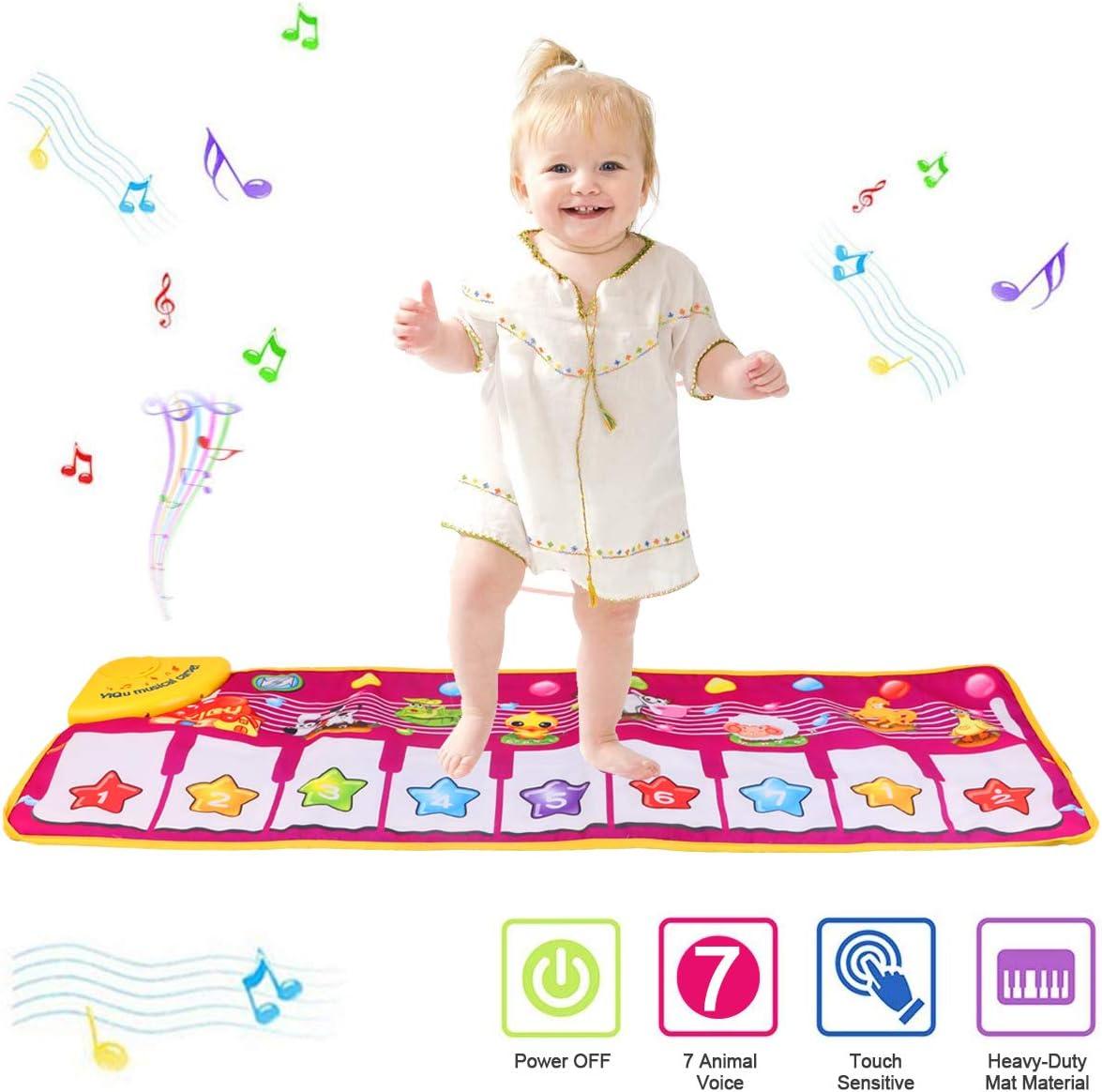 PROACC Tapete para Piano, Juguete para niños con Teclado y Teclado para Piano, tamaño Grande (39 * 14 Pulgadas) Divertido tapete de Baile para bebés Niños pequeños y Regalos para niñas (Rojo)