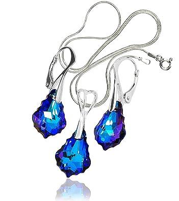 Swarovski-Kristalle Schöner Ohrringe Anhänger Kette Barock blau ...