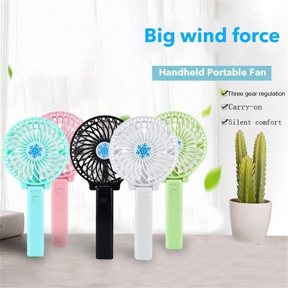 XIANGNAIZUI Mini Handheld Fan Cooler Handheld USB Charging Mini Desk Fan Rechargeable and Portable for Office Outdoor Household Travel Color : Pink