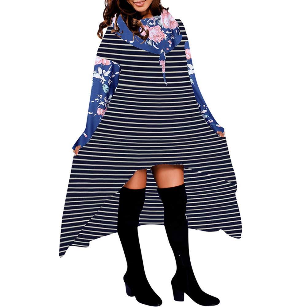 BBestseller Hoodie Pullover Mujeres del otoño de Manga Larga Sudadera con Capucha de Rayas y Cuadros Mujer Blusa asimétrica: Amazon.es: Ropa y accesorios