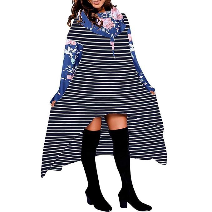 BBestseller Hoodie Pullover Mujeres del otoño de Manga Larga Sudadera con Capucha de Rayas y Cuadros