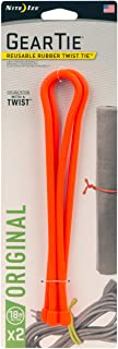 product image for Nite Ize Original Gear Tie, Reusable Rubber Twist Tie, 18-Inch, Bright Orange, 2 Pack, Made in the USA