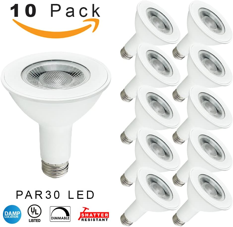 Indoor//Outdoor Rated -20 Pack 5000K Daylight 75W Replacement 14 Watt LED PAR30 Dimmable Flood Bulb 900 Lumens