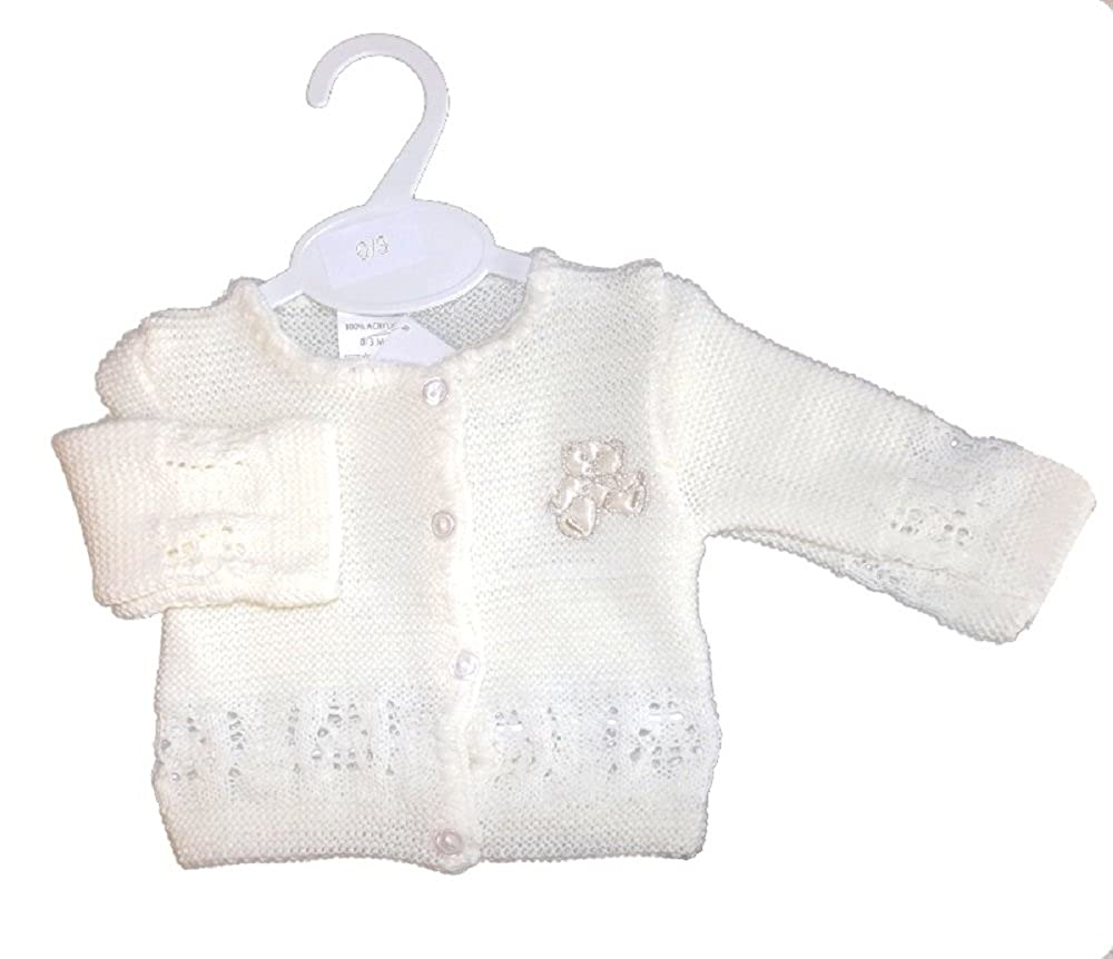 Available to fit Ages 0-6mths Bee Bo White Cream Unisex Baby Knitted Cardigan 100/% Acrylic with Gorgeous Satin Teddy Bear Sewn in Suitable for Little Girl boy Newborn