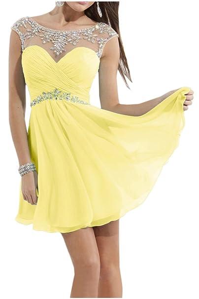 Victory Bridal - Vestido corto de cóctel para mujer amarillo 38