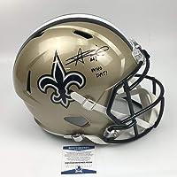 $249 » Autographed/Signed Alvin Kamara Who Dat New Orleans Saints Full Size FS F/S Replica Football Helmet Beckett BAS COA