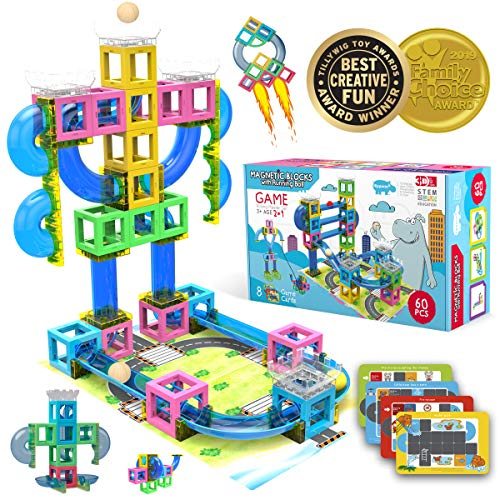 (Hippococo Magnetic 3D Building Blocks with Marble Run Game: New Innovative STEM Educational Toy for Boys/Girls, Durable, Sturdy & Safe Construction Set, Promote Kids Creativity & Imagination (60 PCS))