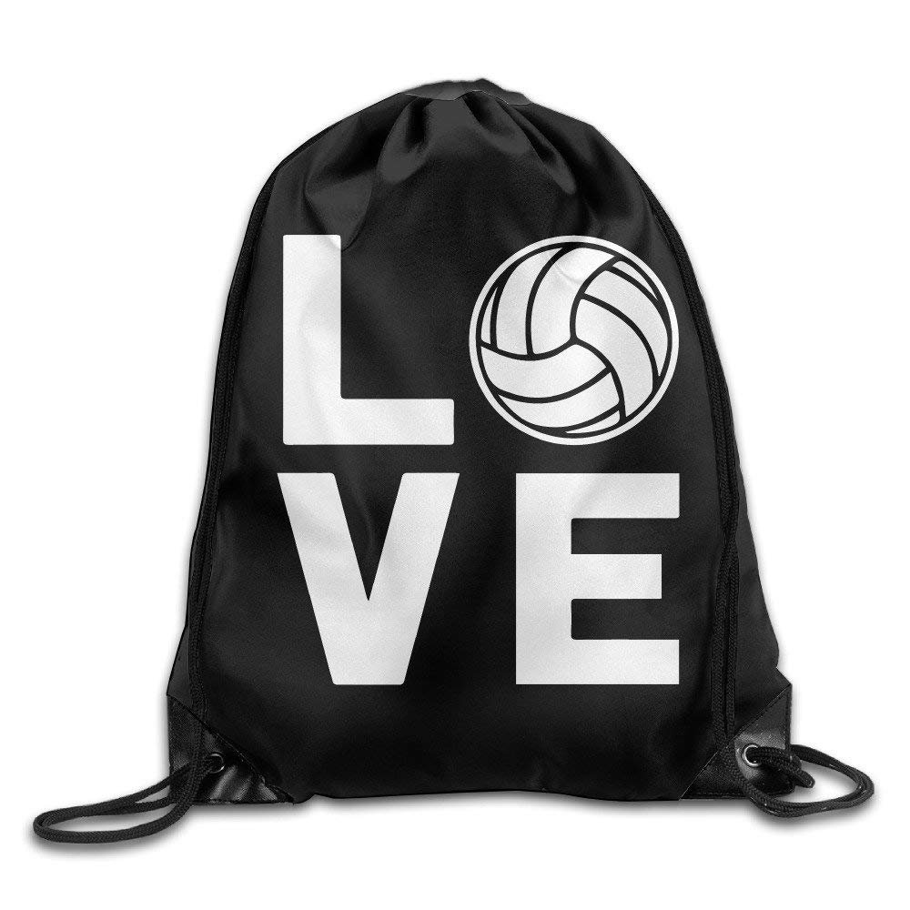 I Love Volleyball for Volleyball Fans Hiking Drawstring Backpack Bag X-Large